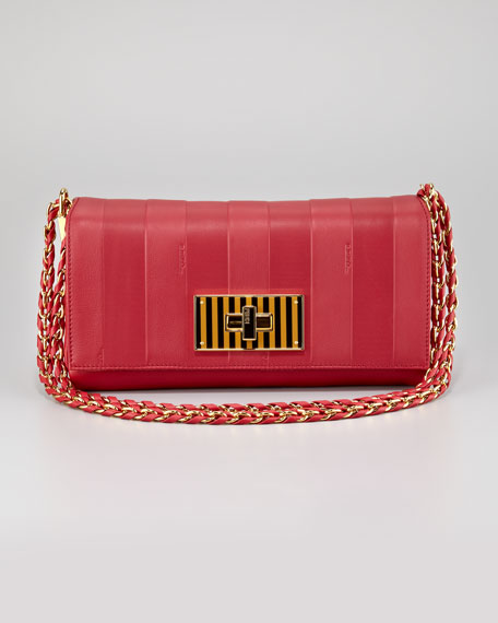 Pequin Tonal-Stripe Shoulder Bag