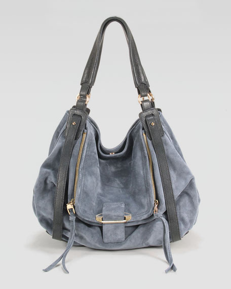 Jonnie Suede/Leather Hobo Bag
