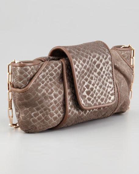 Metallic Snake-Embossed Clutch Bag