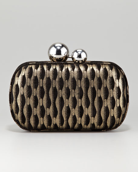 Spherical Kiss-Lock Metallic Minaudiere
