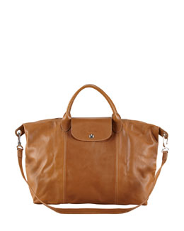 Longchamp Le Pliage Cuir Large Handbag with Strap, Camel