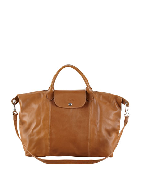 Le Pliage Cuir Large Handbag with Strap, Camel