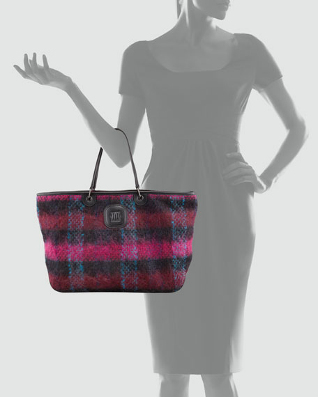 Bi Gao Plaid Mohair Large Tote Bag, Burgundy