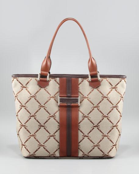 LM Jacquard Shoulder Tote Bag, Brown