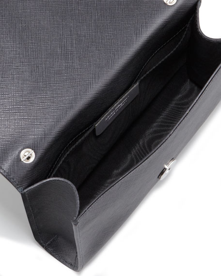 Miss Vara Flap-Top Clutch Bag, Nero