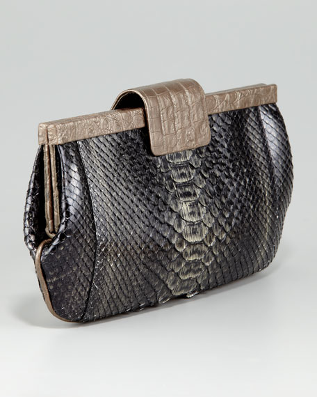Crocodile-Framed Python Clutch Bag