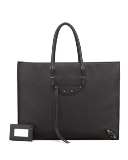 Balenciaga Papier A4 Leather Tote Bag, Black