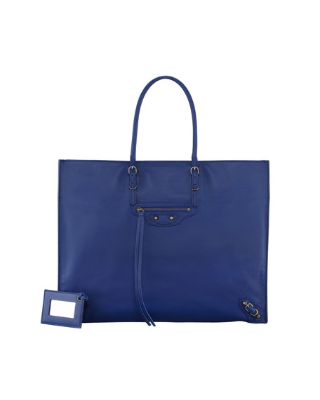 Papier A4 Leather Tote Bag, Marine