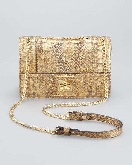 Alexa Python-Embossed Shoulder Bag