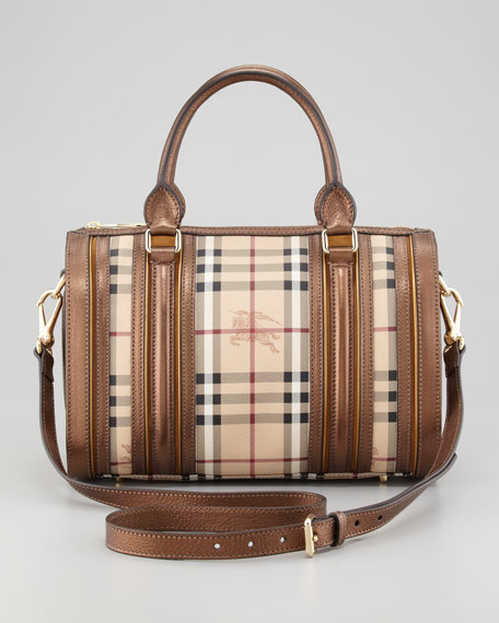 Metallic-Trim Check Bowler Bag