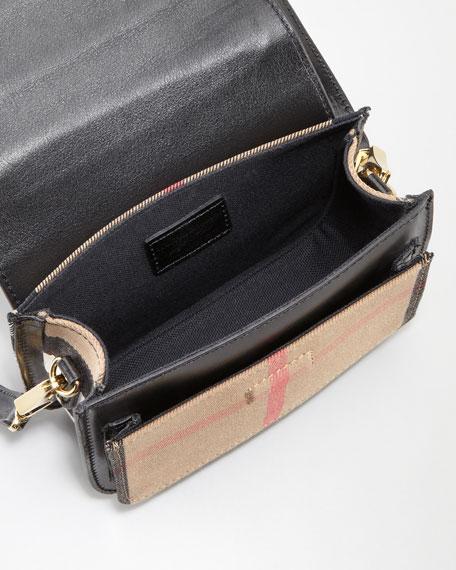 Check Small Crossbody Bag, Black