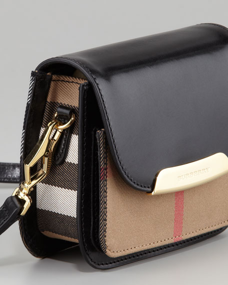 Check Small Crossbody Bag, Black