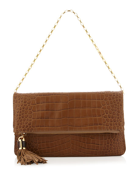 Large Tonne Crocodile-Embossed Fold-Over Clutch Bag
