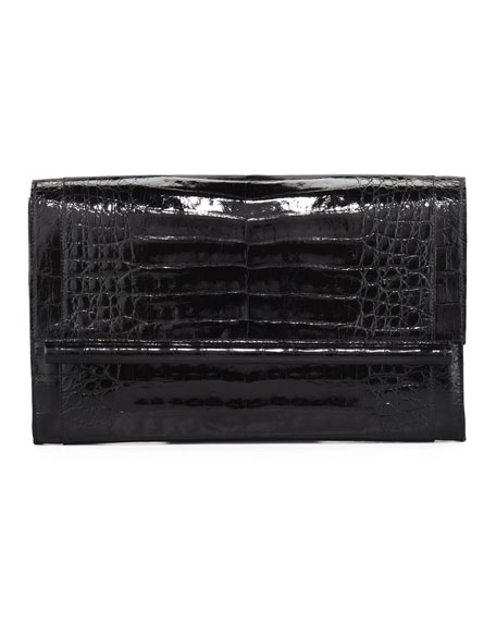 Nancy Gonzalez Front-Flap Crocodile Bar Clutch Bag, Shiny