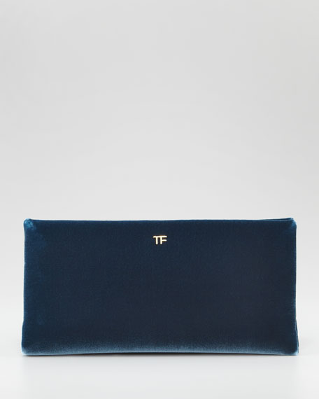 TF Flat Velvet Clutch Bag, Petrol