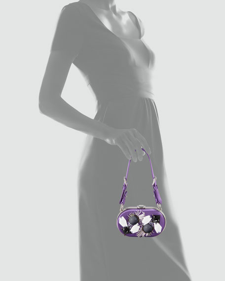 Oval Raso Ricamo Clutch Bag, Viola