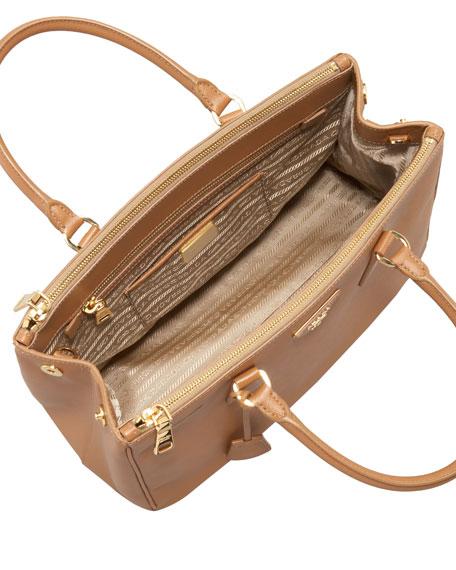 Prada Saffiano Double-Zip Executive Tote, Brown (Caramel)