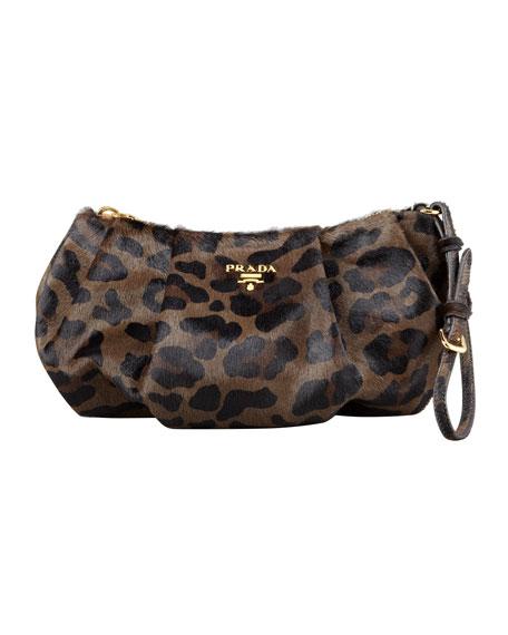 Leopard-Print Calf Hair Wristlet