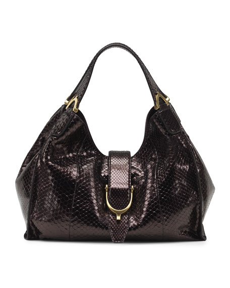Soft Stirrup Python Shoulder Bag, Medium
