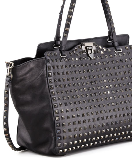 Noir Rockstud All Over Medium Tote Bag, Black