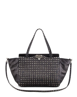 Valentino Noir Rockstud All Over Medium Tote Bag, Black
