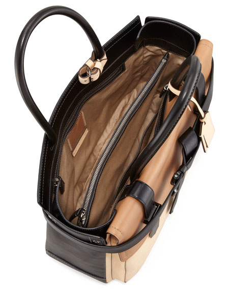 Boxer 1 Calfskin Tote Bag, Natural/Black