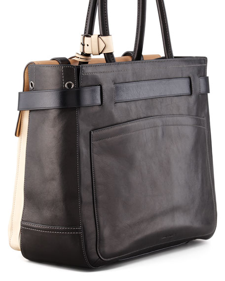 Boxer 1 Calfskin Tote Bag, Natural/Black