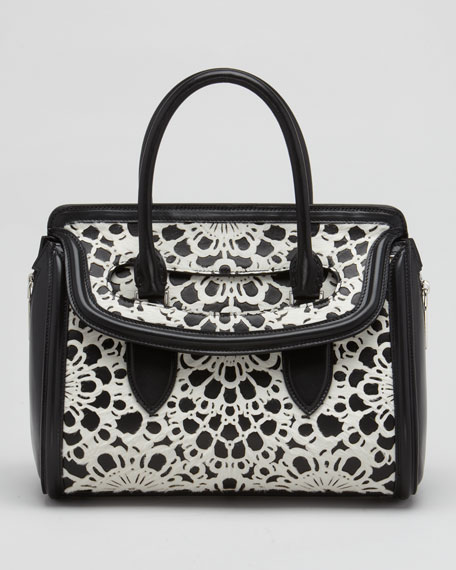 Small Heroine Laser-Cut Calf Hair Satchel Bag