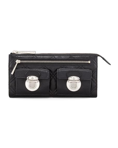 Quilted Zip Clutch Bag, Black