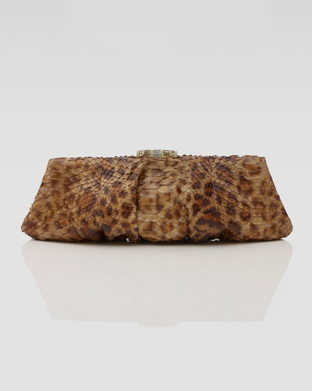 Kadija Printed Python Clutch Bag