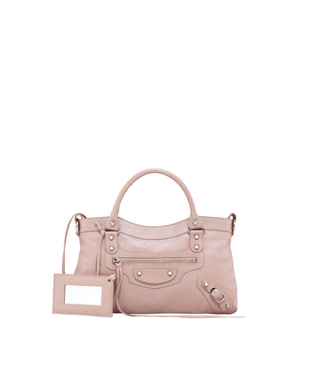 Classic Silver Pearly First Tote Bag, Rose
