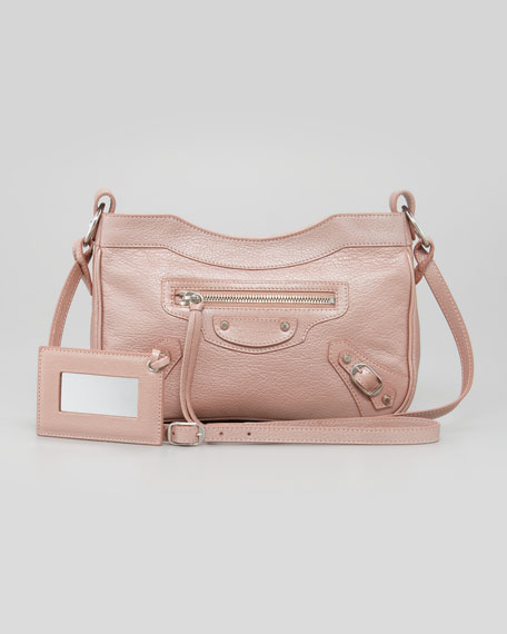 Classic Silver Pearly Hip Crossbody Bag, Rose