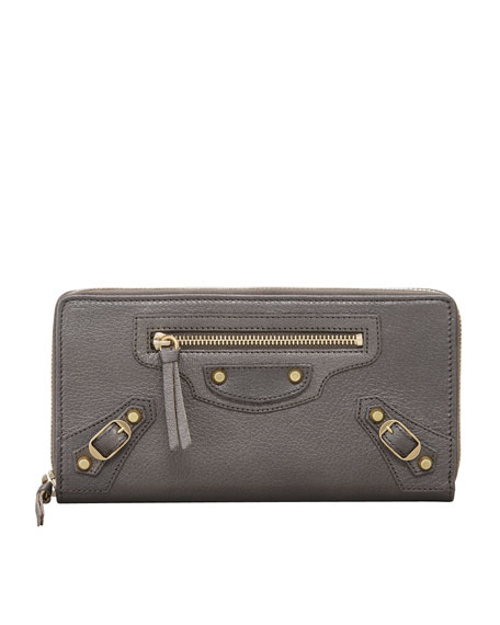 Classic Golden Continental Zip Wallet, Bronze