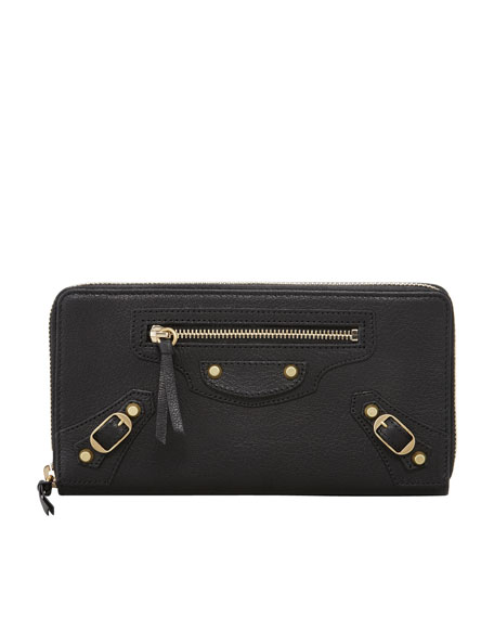 Classic Golden Continental Zip Wallet, Black