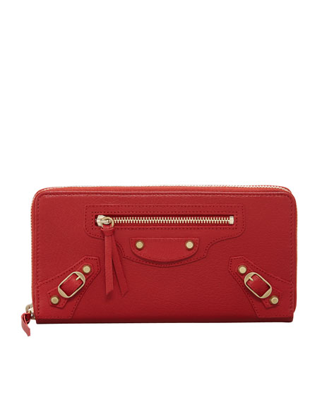 Classic Golden Continental Zip Wallet, Red