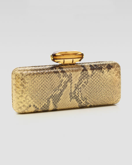 Jessica Slim Rectanble Snake-Embossed Clutch Bag, Gold