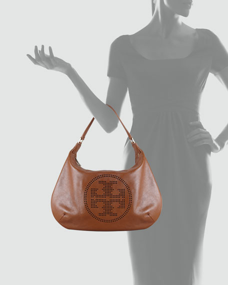 Perforated-Logo Leather Hobo Bag, Tan