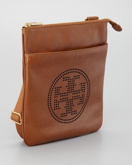 Leather Perforated Swingpack Bag, Original Tan