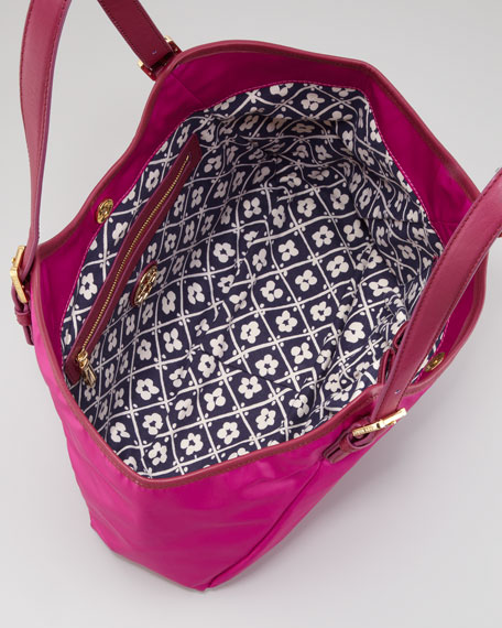 Logo Tech-Fabric Slouch Hobo Bag, Party Fuchsia