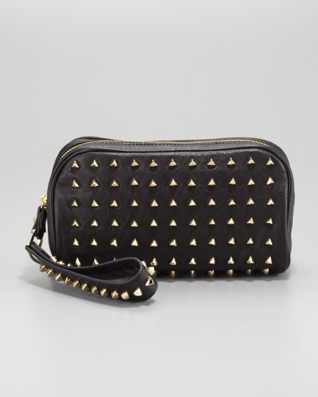 Pyramid Stud Clutch Bag, Black