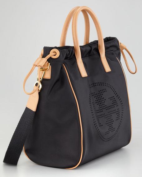Perforated Logo Small Drawstring Tote Bag, Black