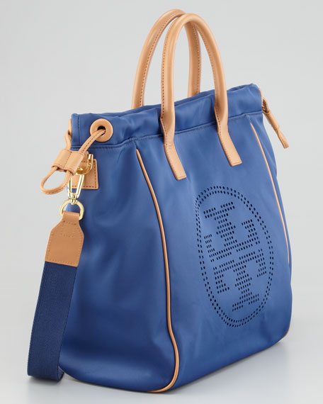 Perforated Logo Small Drawstring Tote Bag, Indigo