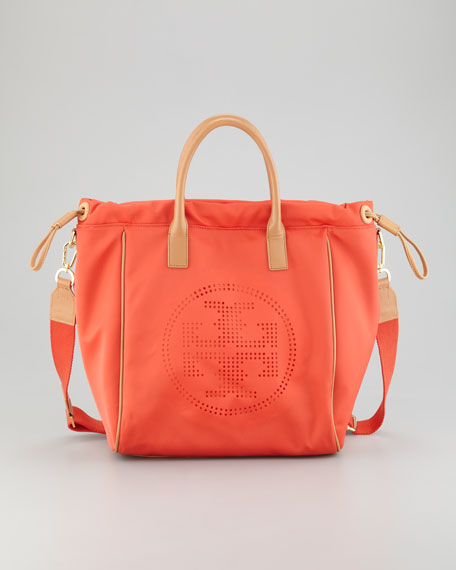 Perforated Logo Small Drawstring Tote Bag, Flame Red