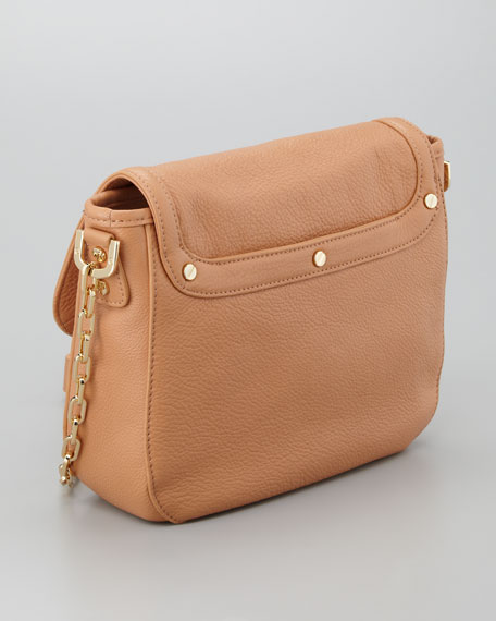 Amanda Pebbled Messenger Bag, Aged Vachetta