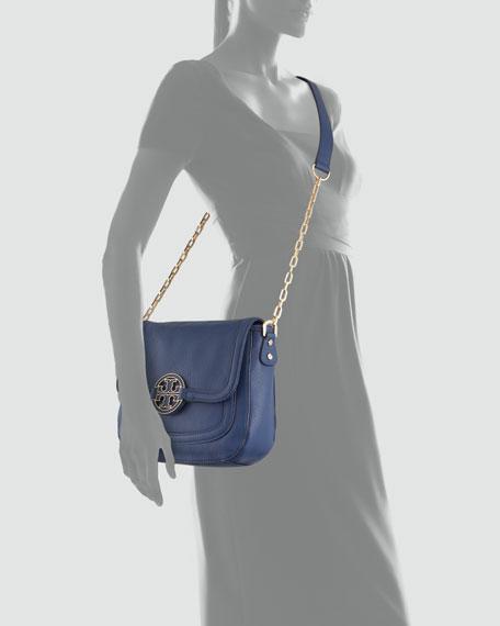 Amanda Pebbled Messenger Bag, Indigo