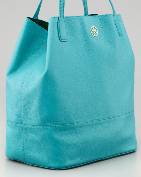 Michelle Leather Tote Bag, Turquoise