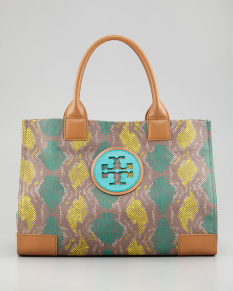 Ella Coated Snake-Print Tote Bag, Sea Urchin