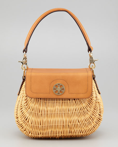 Lacquered Rattan Basket Bag, Natural