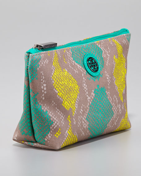 Slouchy Snake-Print Small Cosmetic Bag, Sea Urchin