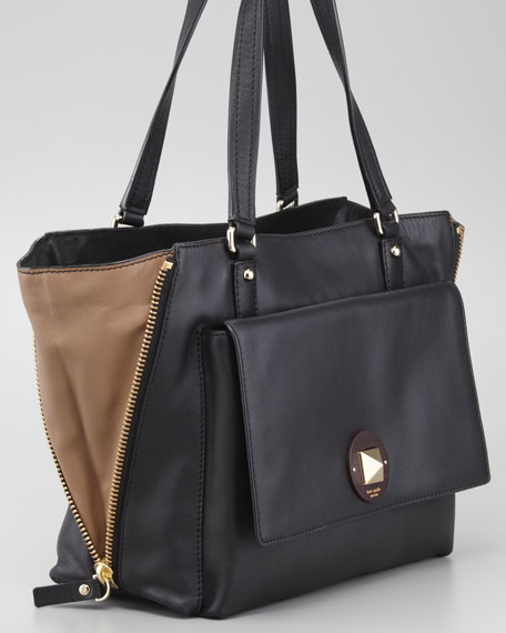 west 12th austin shoulder tote bag, black/due